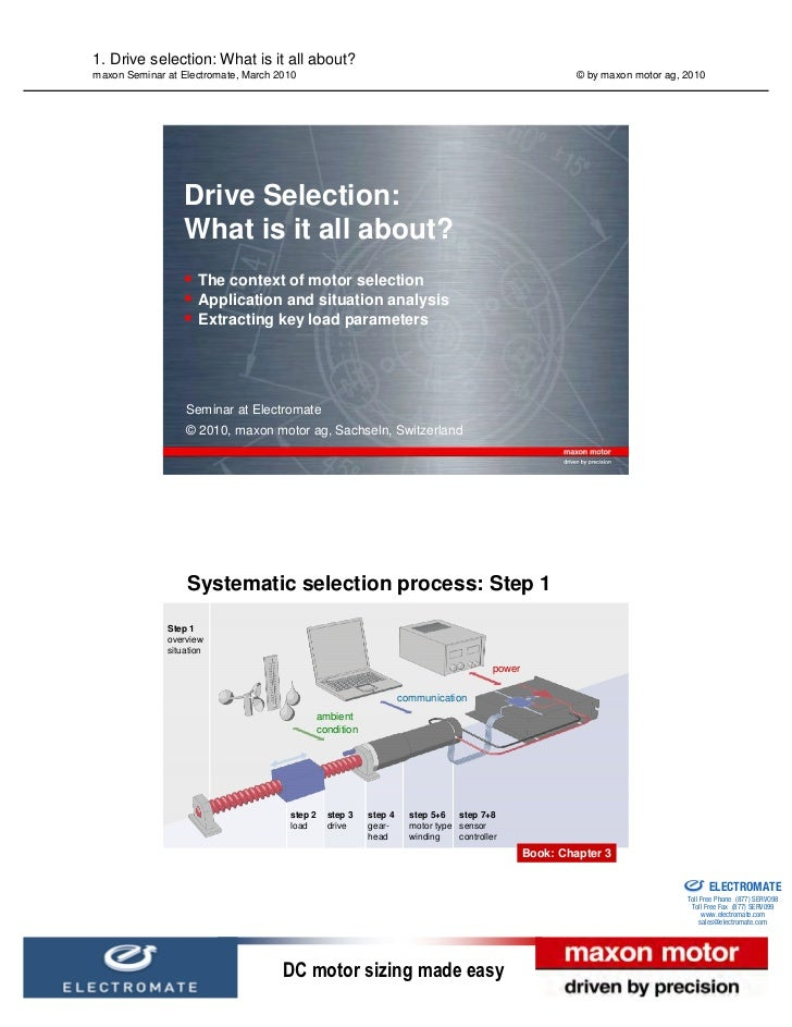 1. Drive selection: What is it all about?maxon Seminar at Electromate, March 2010                                         ...