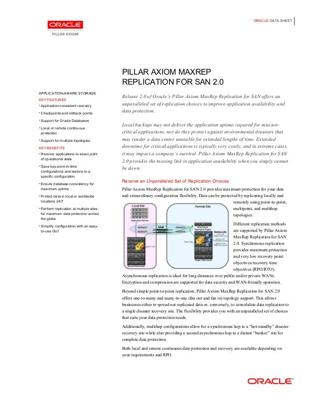 ORACLE DATA SHEET PILLAR AXIOM MAXREP REPLICATION FOR SAN 2.0 Release 2.0 of Oracle's Pillar Axiom MaxRep Replication for ...