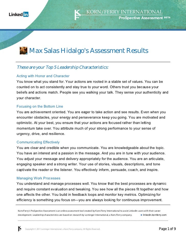 ProSpective Assessment           Max Salas Hidalgos Assessment ResultsThese are your Top 5 Leadership Characteristics:Acti...