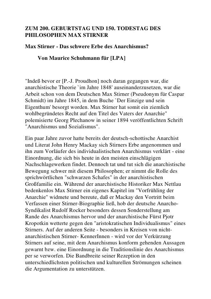 Max Stirner - Das schwere Erbe des Anarchismus