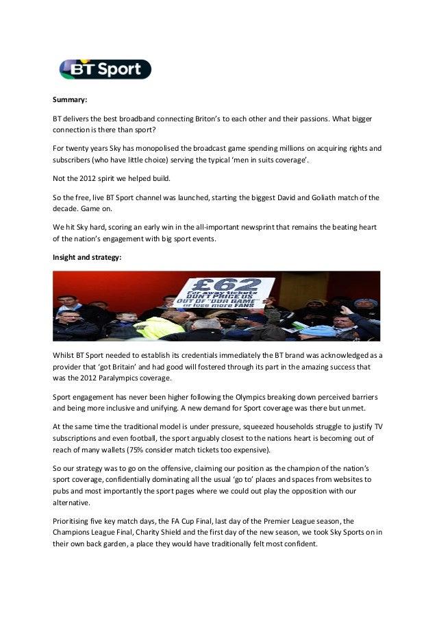 BT Sport Launch domination: Case Study