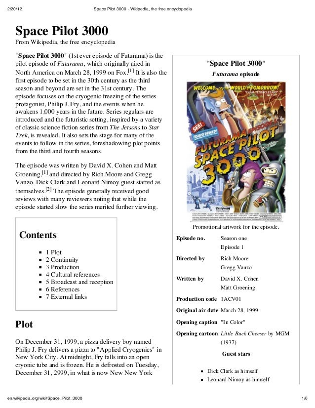 "2/20/12 Space Pilot 3000 - Wikipedia, the free encyclopedia1/6en.wikipedia.org/wiki/Space_Pilot_3000""Space Pilot 3000""Futu..."