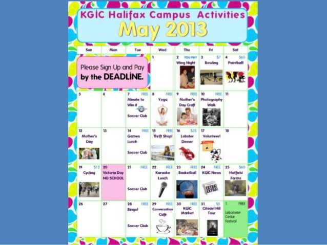 KGIC Halifax Campus Activity Calendar May 2013