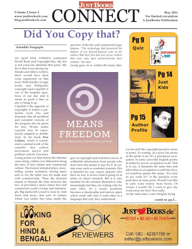 JustBooks Connect - May 2011 newsletter