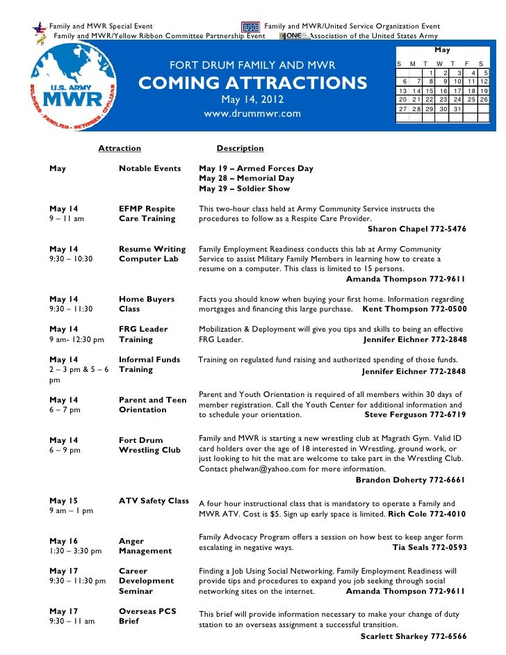 May 14 2012 Family and MWR Coming Attractions