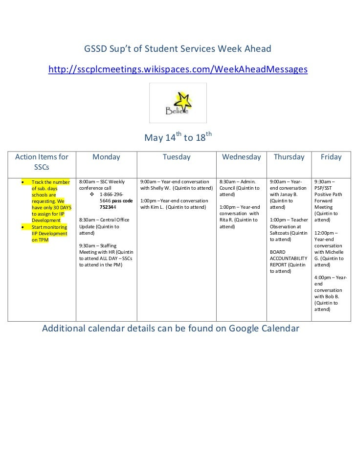 GSSD Sup't of Student Services Week Ahead            http://sscplcmeetings.wikispaces.com/WeekAheadMessages               ...