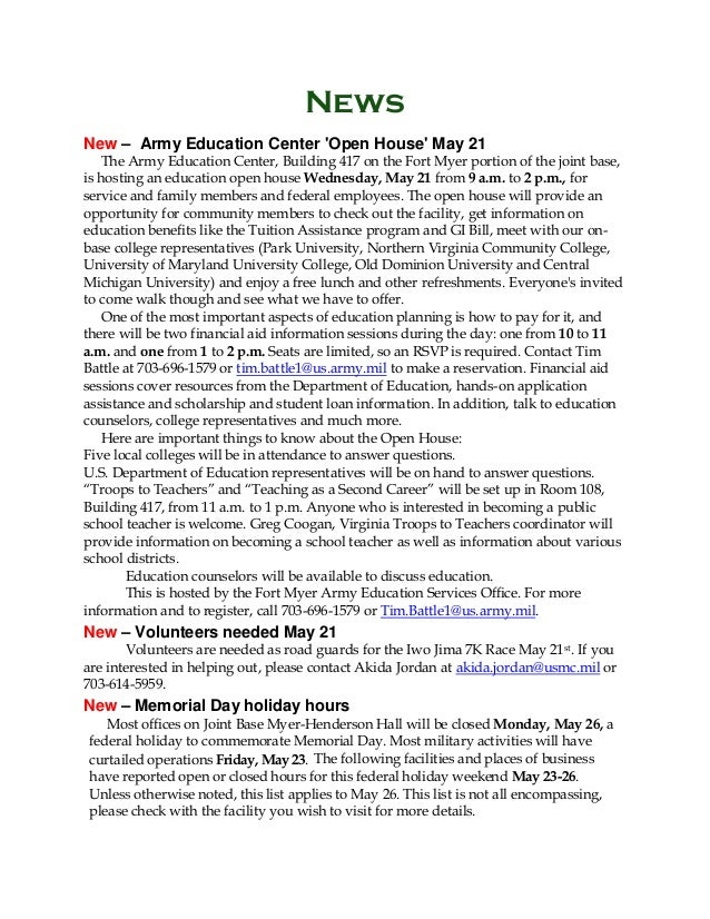 News New – Army Education Center 'Open House' May 21 The Army Education Center, Building 417 on the Fort Myer portion of t...