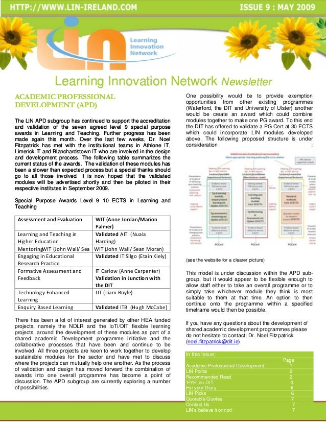 Learning Innovation Network NewsletterACADEMIC PROFESSIONAL                                               One possibility ...