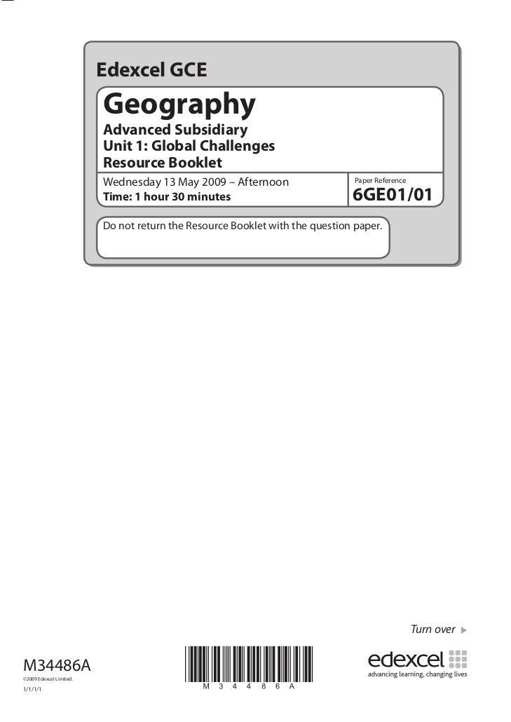 Edexcel GCE                         Geography                         Advanced Subsidiary                         Unit 1: ...