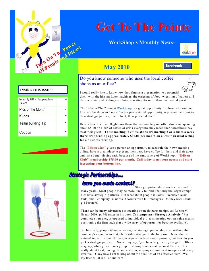 Get To The Pointe                             er                          WorkShop's Monthly News-                        ...