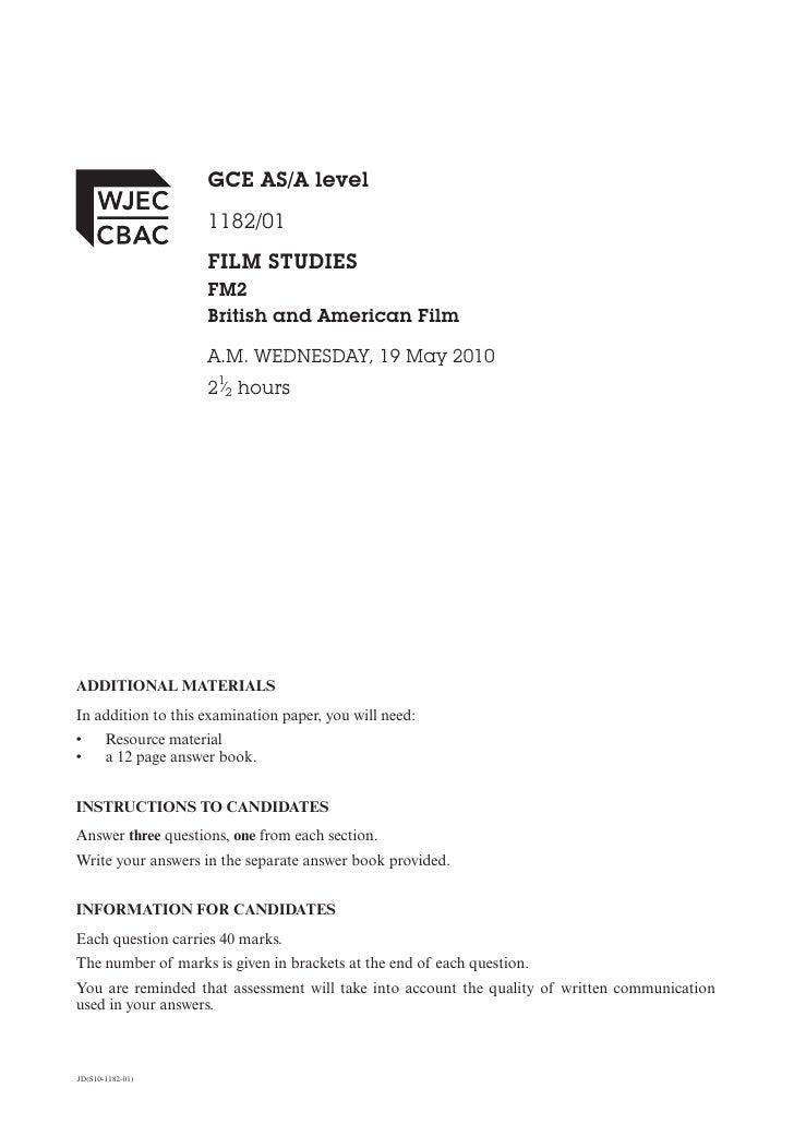 GCE AS/A level                     1182/01                     FILM STUDIES                     FM2                     Br...