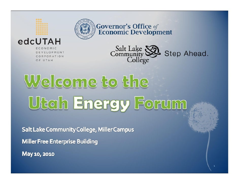 May 2010 Utah Energy Forum