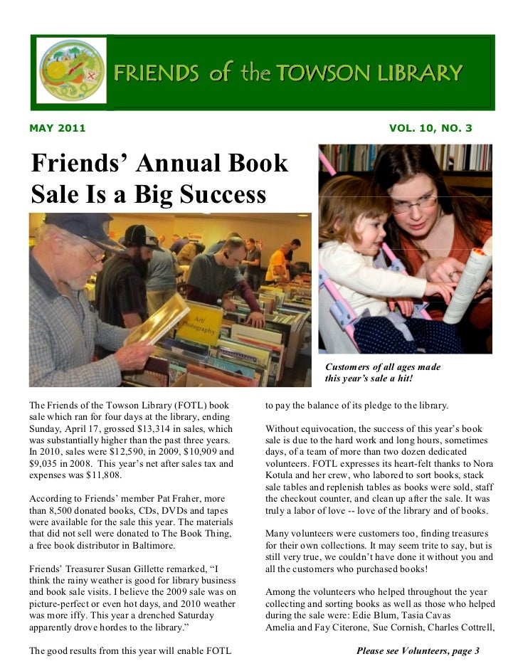 FRIENDS of the TOWSON LIBRARYMAY 2011                                                                               VOL. 1...
