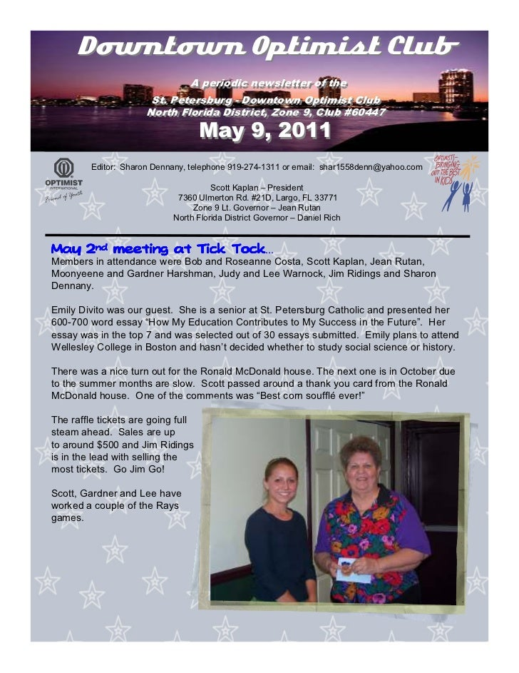 Downtown Optimist Club                              A periodic newsletter of the                               A periodic ...