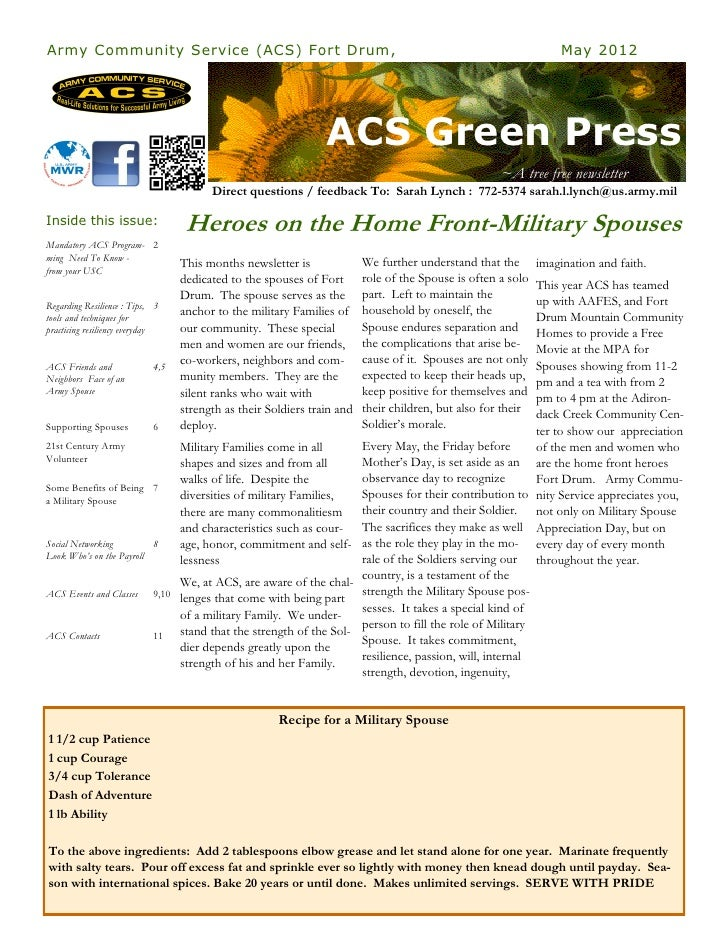 Army Community Service (ACS) Fort Drum,                                                                               May ...