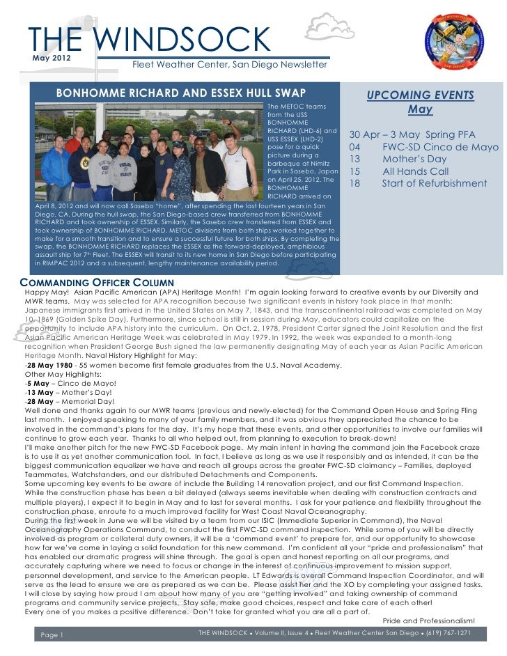 THE WINDSOCK  May 2012                                 Fleet Weather Center, San Diego Newsletter         BONHOMME RICHARD...