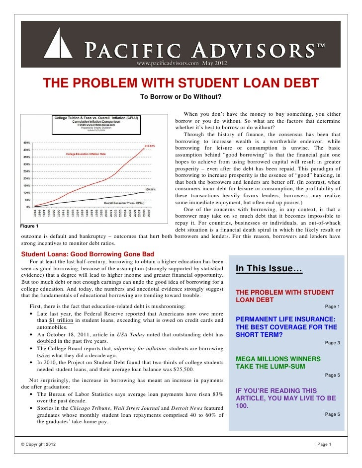 THE PROBLEM WITH STUDENT LOAN DEBT                                                   To Borrow or Do Without?             ...