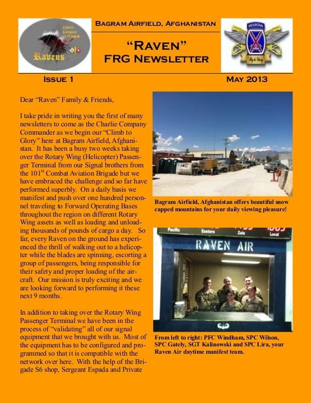 """Bagram Airfield, Afghanistan""""Raven""""FRG NewsletterIssue 1 May 2013Bagram Airfield, Afghanistan offers beautiful snowcapped ..."""