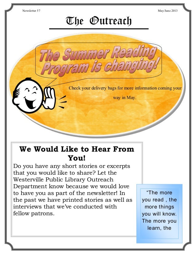May 2013: Outreach Newsletter