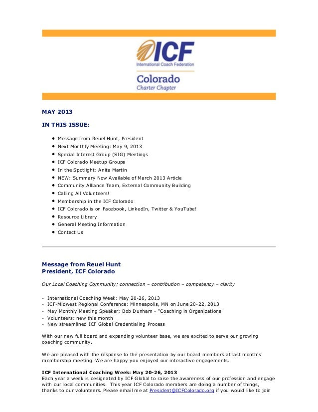 May 2013 ICF Colorado Newsletter