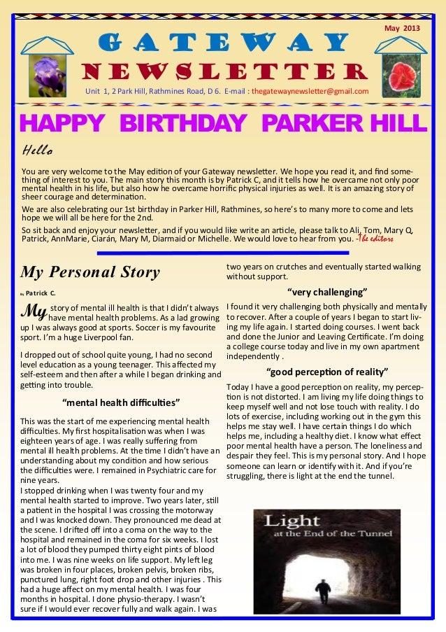 May 2013G a t e w a yG a t e w a yG a t e w a yNewsletterUnit 1, 2 Park Hill, Rathmines Road, D 6. E-mail : thegatewaynews...