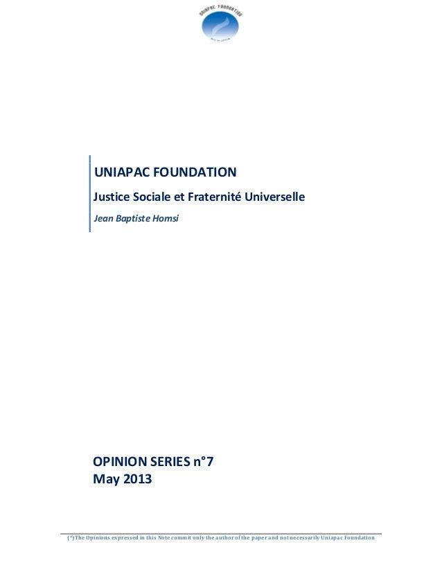May 2013  op s n°7 justice sociale et fraternité universelle