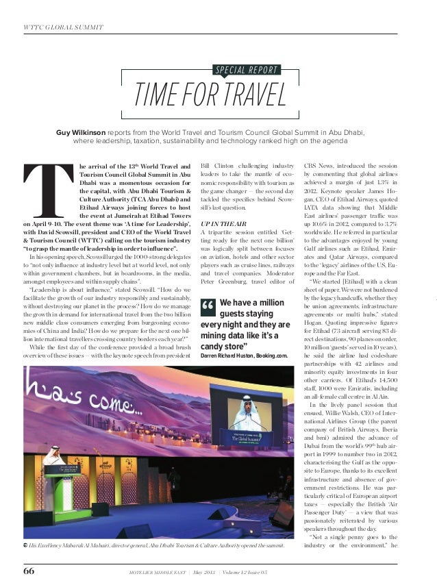 Hotelier Middle East May 2013 WTTC Summit report