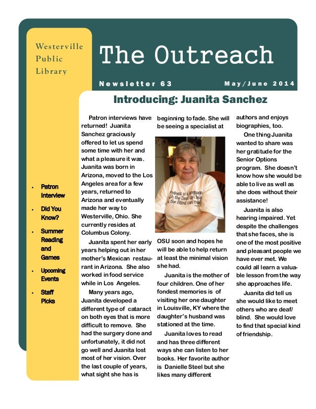 authors and enjoys biographies, too. One thing Juanita wanted to share was her gratitude for the Senior Options program. S...