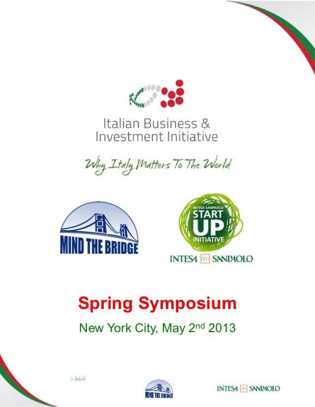 Startup presentation at IB&II Spring Symposium 2013, New York