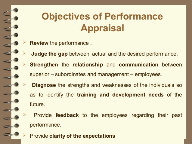 objectives of performance appraisal Performance appraisals aren't an end in themselves, but a way to identify and quantify the impact of an employee's.