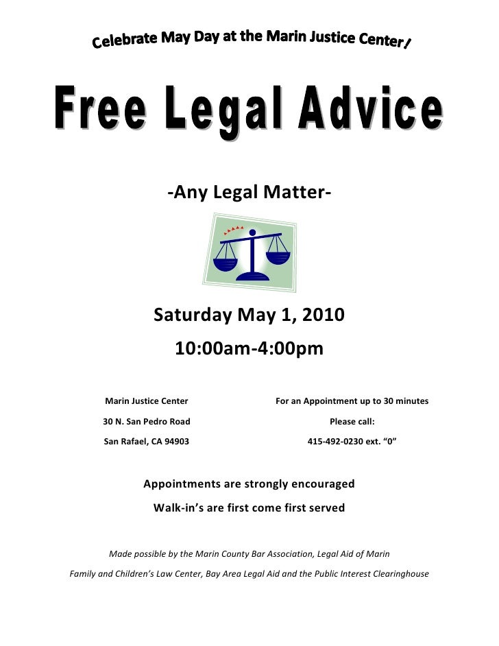 -Any Legal Matter-                          Saturday May 1, 2010                           10:00am-4:00pm          Marin J...