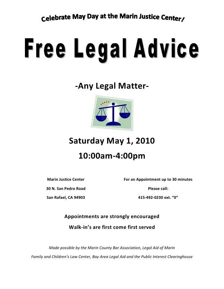 -Any Legal Matter-                          Saturday May 1, 2010                           10:00am-4:00pm          Marin J...