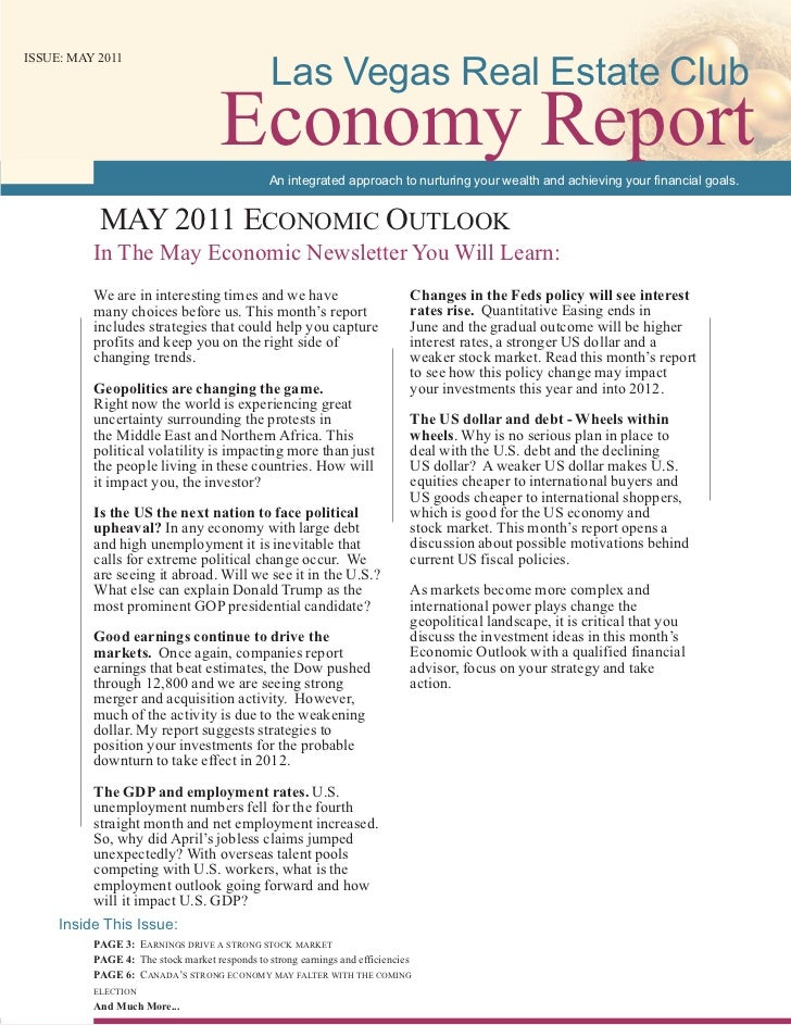 Las Vegas Real Estate ClubISSUE: MAY 2011                                     Economy Report                              ...