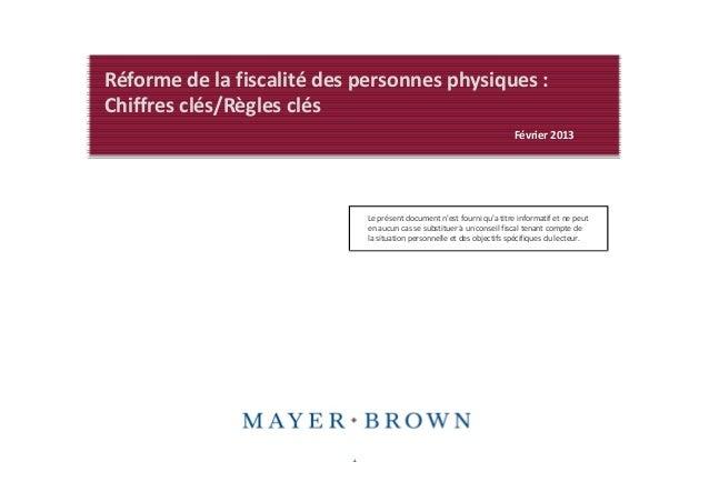 Réforme de la fiscalité des personnes physiques :Chiffres clés/Règles clés                                                ...