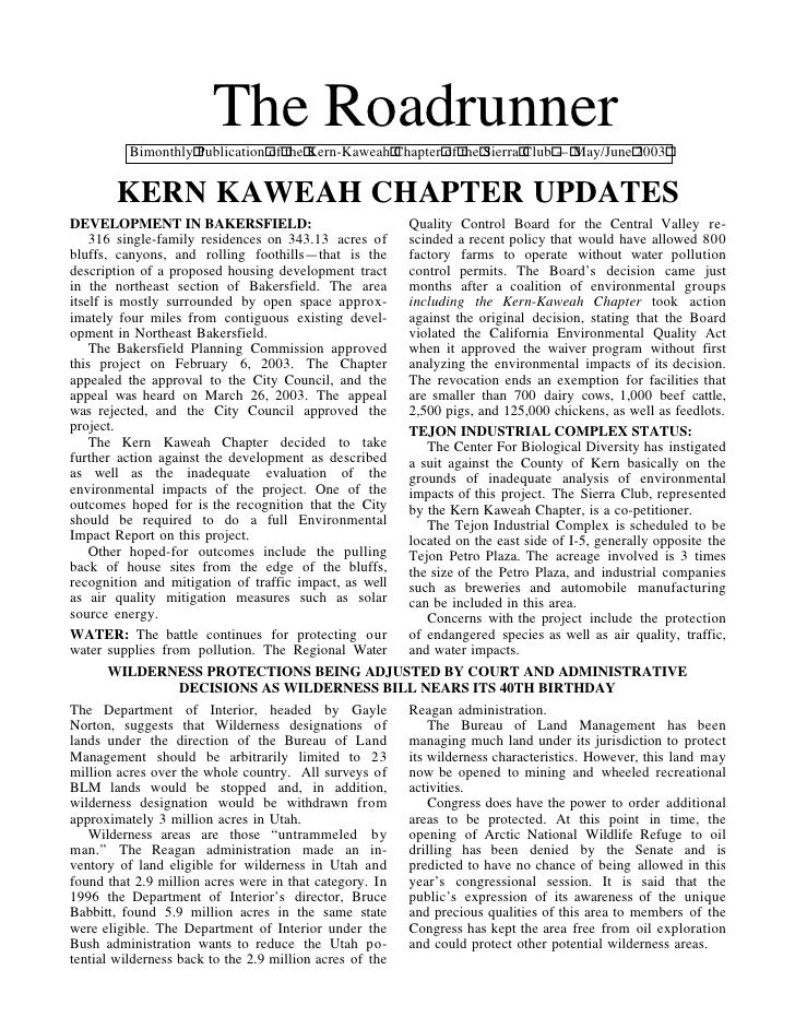 May-June 2003 Roadrunner Newsletter, Kern-Kaweah Sierrra Club