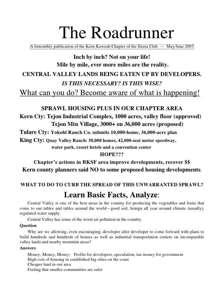 May-June 2007 Roadrunner Newsletter, Kern-Kaweah Sierrra Club