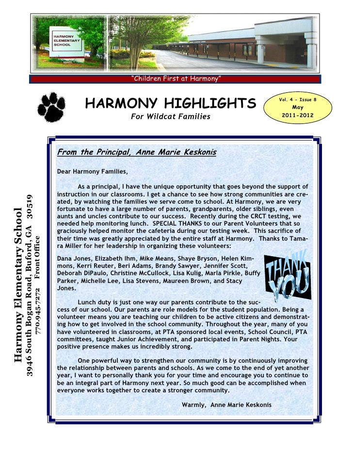Harmony Elementary May 2012 Monthly Parent Newsletter