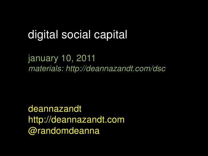 Maynard Institute: Digital Social Capital & Social Networking