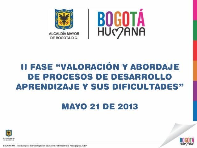 """II FASE """"VALORACIÓN Y ABORDAJEDE PROCESOS DE DESARROLLOAPRENDIZAJE Y SUS DIFICULTADES""""MAYO 21 DE 2013"""