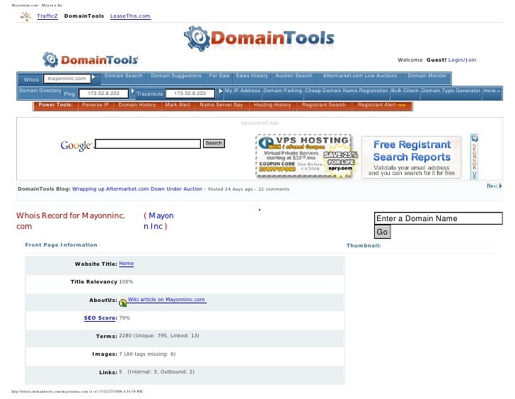 Mayonninc.com - Mayon n Inc                TrafficZ          DomainTools           LeaseThis.com                      Doma...