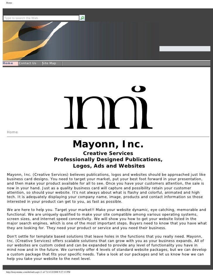 Mayonn, Inc. Website in PDF format
