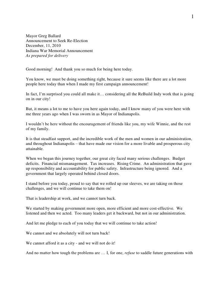 1   Mayor Greg Ballard Announcement to Seek Re-Election December, 11, 2010 Indiana War Memorial Announcement As prepared f...