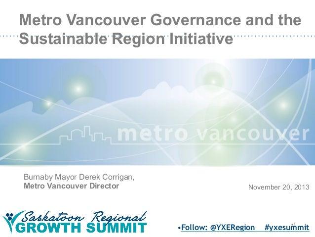 Metro Vancouver Governance and the Sustainable Region Initiative  Burnaby Mayor Derek Corrigan, Metro Vancouver Director  ...