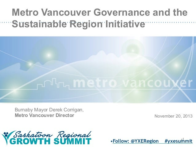 Metro Vancouver Governance and the Sustainable Region Initiative