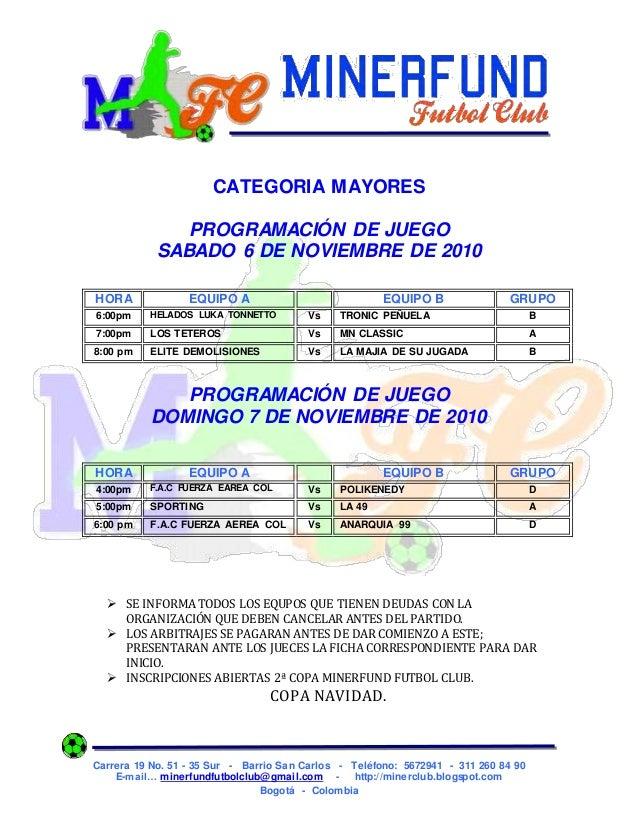 Carrera 19 No. 51 - 35 Sur - Barrio San Carlos - Teléfono: 5672941 - 311 260 84 90 E-mail… minerfundfutbolclub@gmail.com -...
