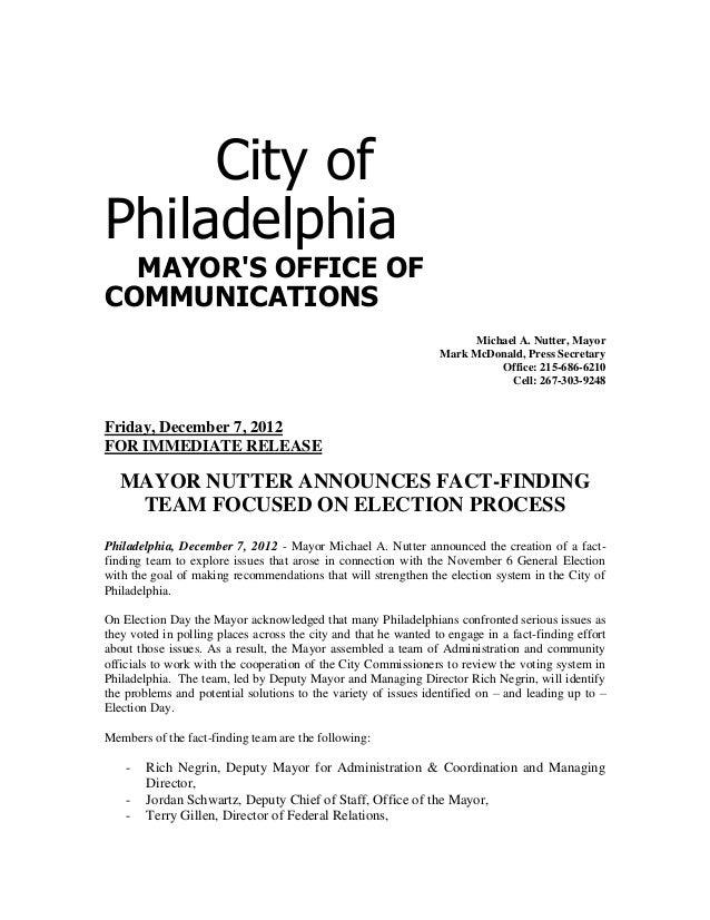 City ofPhiladelphia  MAYORS OFFICE OFCOMMUNICATIONS                                                                       ...
