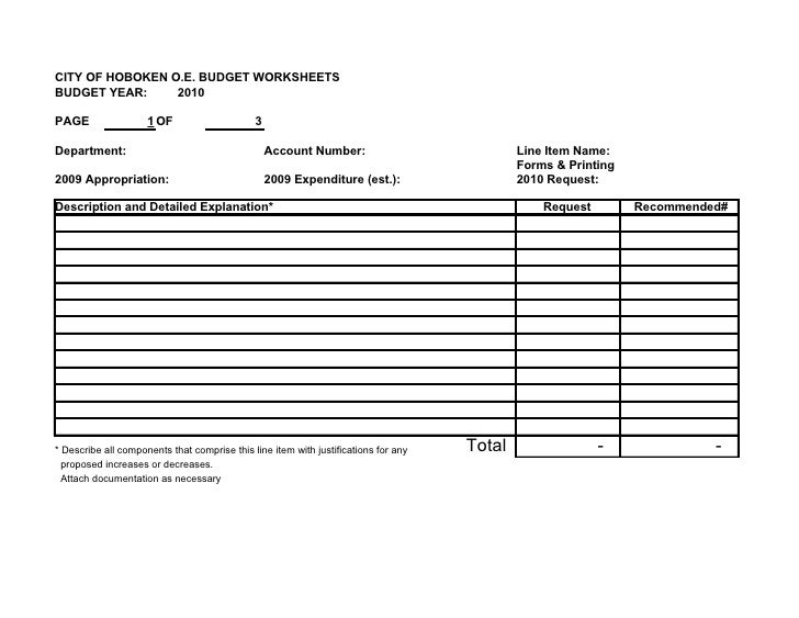 CITY OF HOBOKEN O.E. BUDGET WORKSHEETS BUDGET YEAR:     2010  PAGE                 1 OF                     3  Department:...