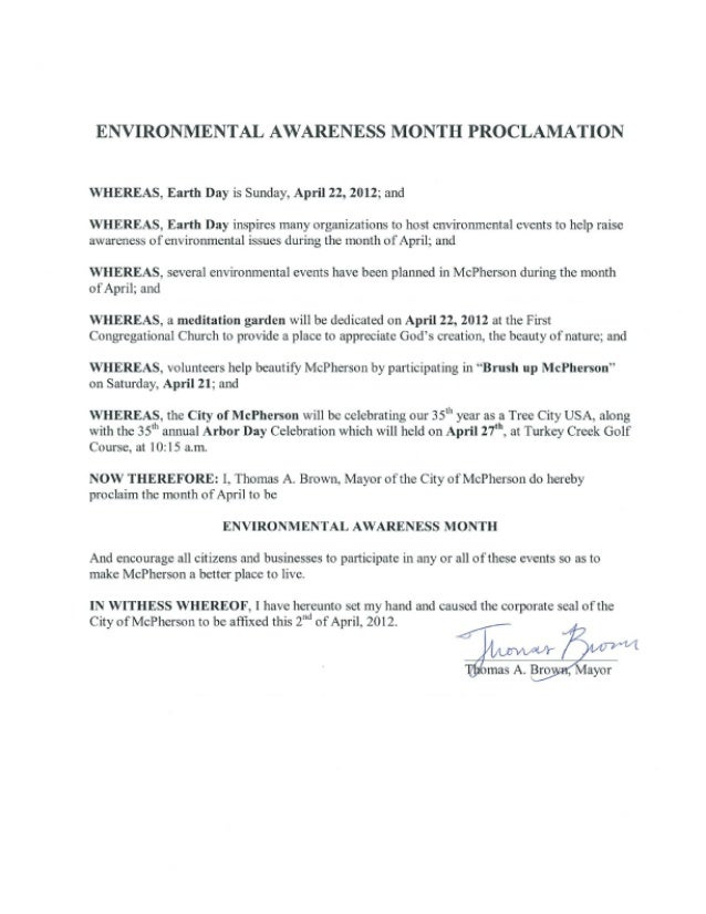 ENVIRONMENTAL AWARENESS MONTH PROCLAMATION  WHEREAS,  I-Tortli Day is Sunday,  April 22. 2012; and  WHEREAS.  Earth Day in...