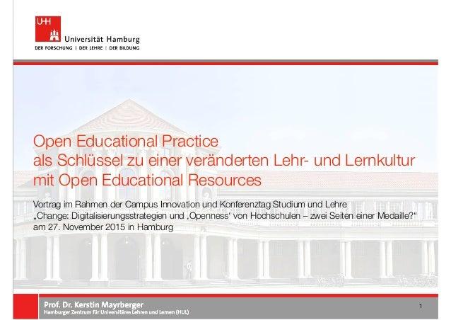 """Vortrag im Rahmen der Campus Innovation und Konferenztag Studium und Lehre """"Change: Digitalisierungsstrategien und 'Openne..."""