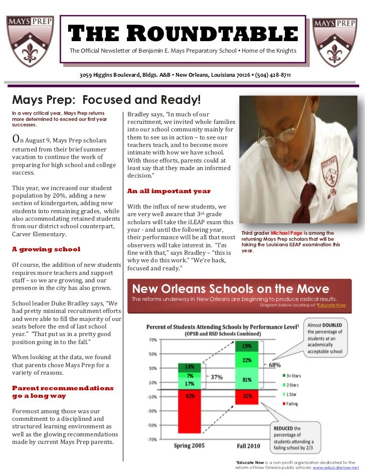 THE ROUNDTABLE                           I                         The Official Newsletter of Benjamin E. Mays Preparatory...